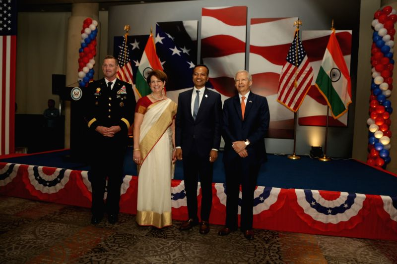US Ambassador to India Kenneth I. Juster, Deputy Chief of Mission MaryKay L. Carlson and Defense Attache David E. Brigham with Indian Industrialist Naveen Jindal during the 242nd ...