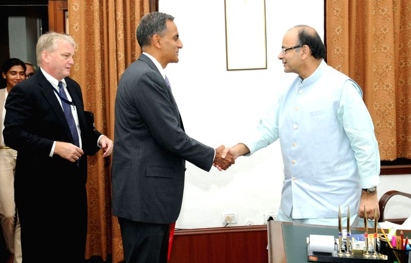 US Ambassador to India Richard Verma calls on the Union Minister for Finance and Corporate Affairs Arun Jaitley, in New Delhi on July 19, 2016. - Richard Verma and Affairs Arun Jaitley