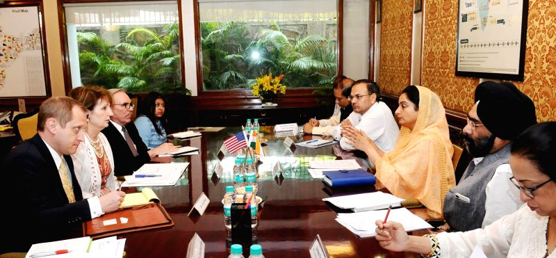 US Charges d'Affaires Marykay Loss Carlson calls on Union MoS Food Processing Industries Harsimrat Kaur Badal, in New Delhi on April 20, 2017.
