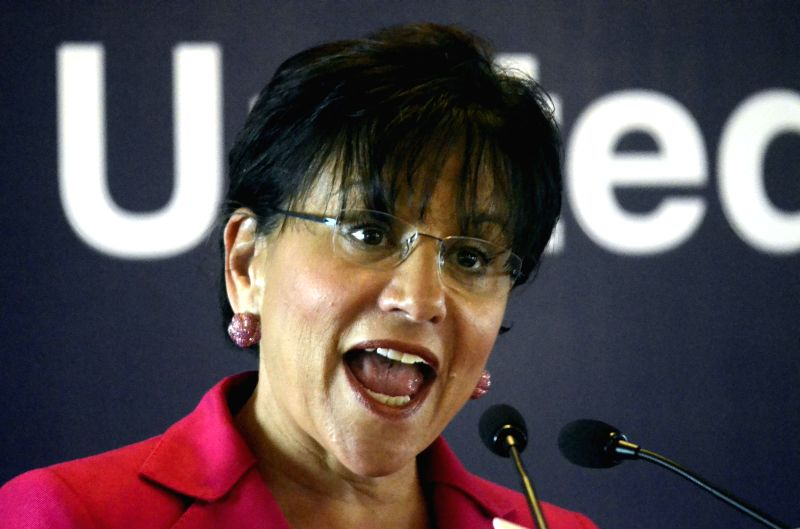 US Commerce Secretary Penny Pritzker addresses during a programme organised by CII in Mumbai on on July 30, 2014.