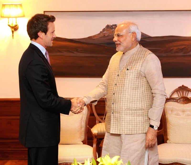US Congressman, Aaron Schock calls on Prime Minister Narendra Modi in New Delhi on Aug 26, 2014. - Narendra Modi