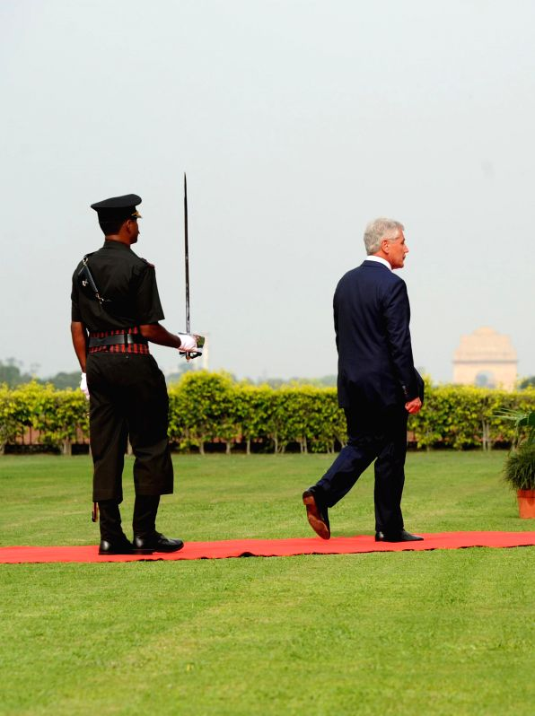 US Defence Secretary Chuck Hagel during his visit to South Block in New Delhi on Aug 8, 2014.
