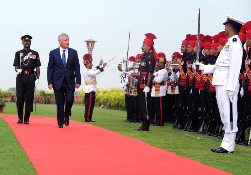 US Defence Secretary Chuck Hagel inspects Guard of Honour at South Block in New Delhi on Aug 8, 2014.