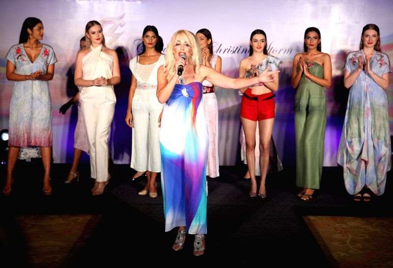 US Designer and singer Christine Storm during the launch of her signature Golf and Resort Women's wear collection in New Delhi on Sept 14, 2017.