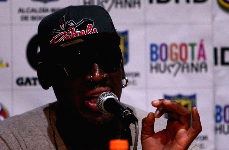 :US former basketball player Dennis Rodman, speaks during a press conference in Bogota, Colombia, 06 August 2013. Rodman will play in an exhibition match the upcoming August 8th, along with Jason ...