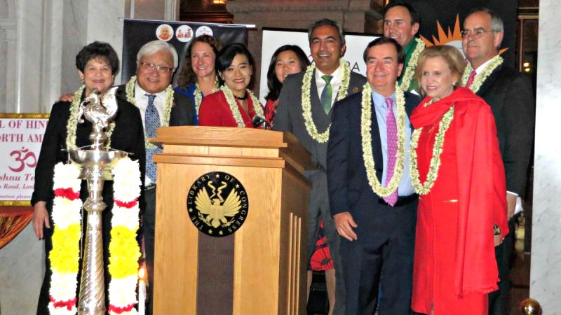 US lawmakers at the annual Diwali celebration on Capitol Hill, the seat of US legislature.