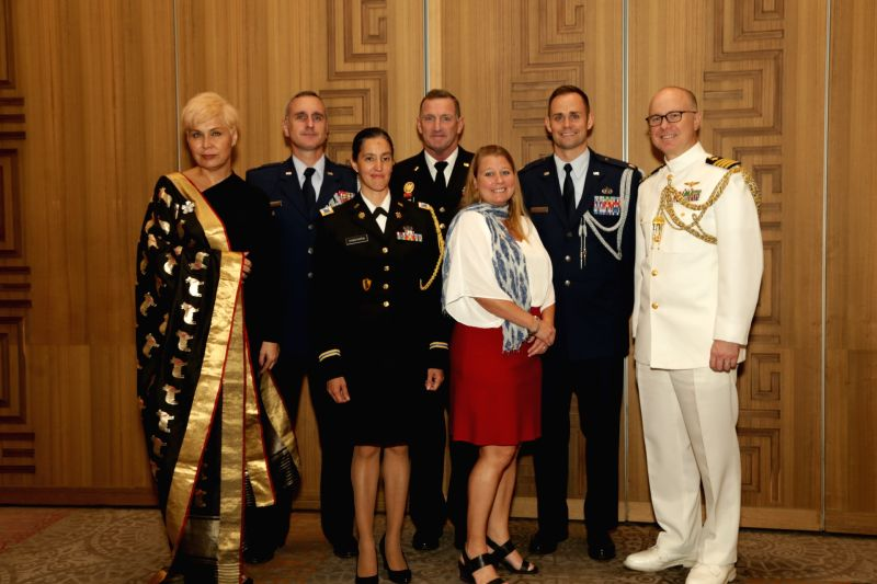 US Minister-Counselor for Public Affairs Jeffrey R. Sexton, Defense Attache David E. Brigham and others during the 242nd anniversary celebrations of the Independence of the United States ...