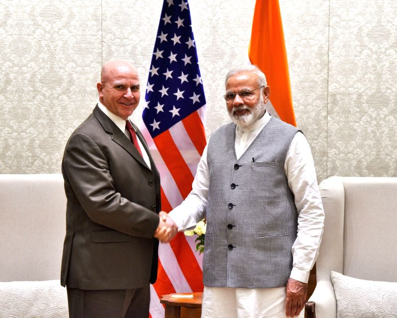 US National Security Adviser Lt. Gen. HR McMaster calls on Prime Minister Narendra Modi in New Delhi on April 18, 2017. - Narendra Modi