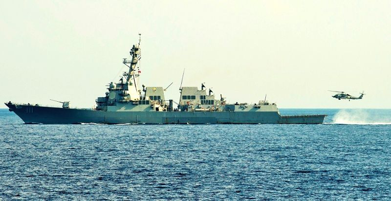 US Navy guided-missile destroyer USS Spruance participated in the submarine-hunting exercise conducted by the US and Indian navies in the Indian Ocean on April 15, 2019. (Photo: US Navy/IANS)