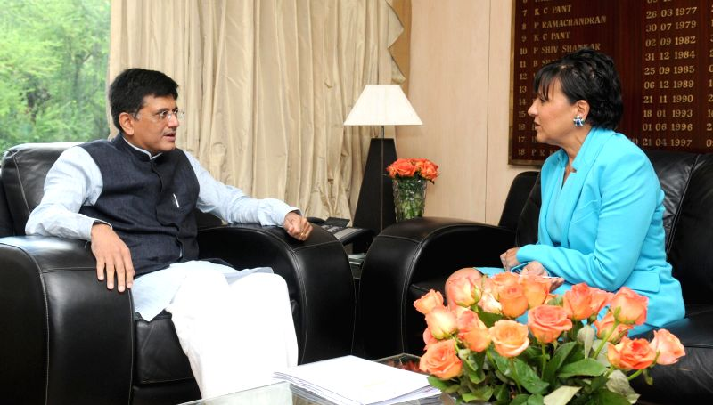US Secretary of Commerce Penny Pritzker calls on MoS (Independent Charge) for Power, Coal and New and Renewable Energy Piyush Goyal in New Delhi on August 1, 2014.