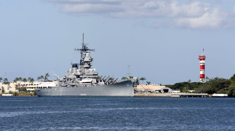 Photo taken on July 31, 2014 shows the general view of the USS Missouri battleship in Pearl Harbor, Hawaii, the United States. Japan and the U.S. signed ...