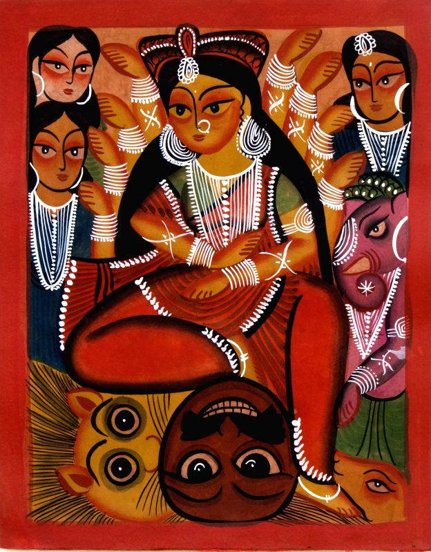 Uttam Chitrakar Jashoda feeding Krishna, 2017 Vegetable colour on paper. (Source: Ojas Art Gallery)