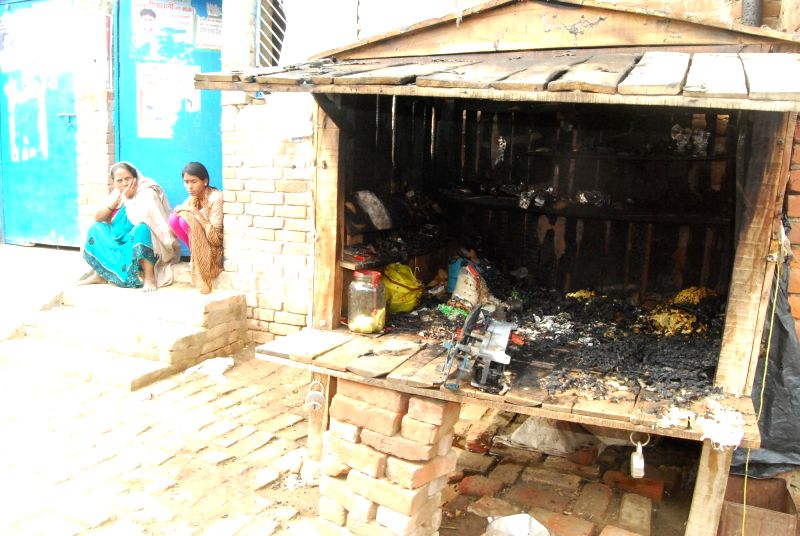 Uttar Pradesh: A shop that was burnt in Uttar Pradesh, on Nov 29, 2015.