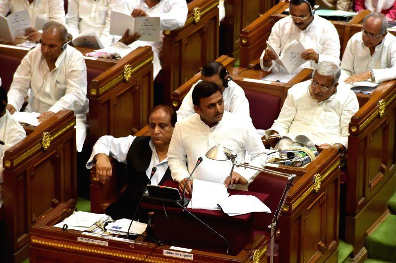 Uttar Pradesh Chief Minister Akhilesh Yadav presents budget for FY 2014-15 in Uttar Pradesh Legislative Assembly in Lucknow on June 19, 2014. - Akhilesh Yadav