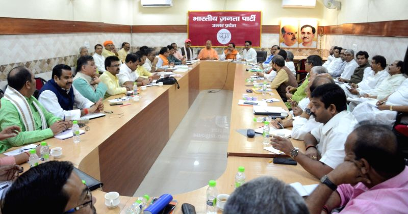Uttar Pradesh Chief Minister and BJP leader Yogi Adityanath during a party meeting in Lucknow, on July 18, 2018.