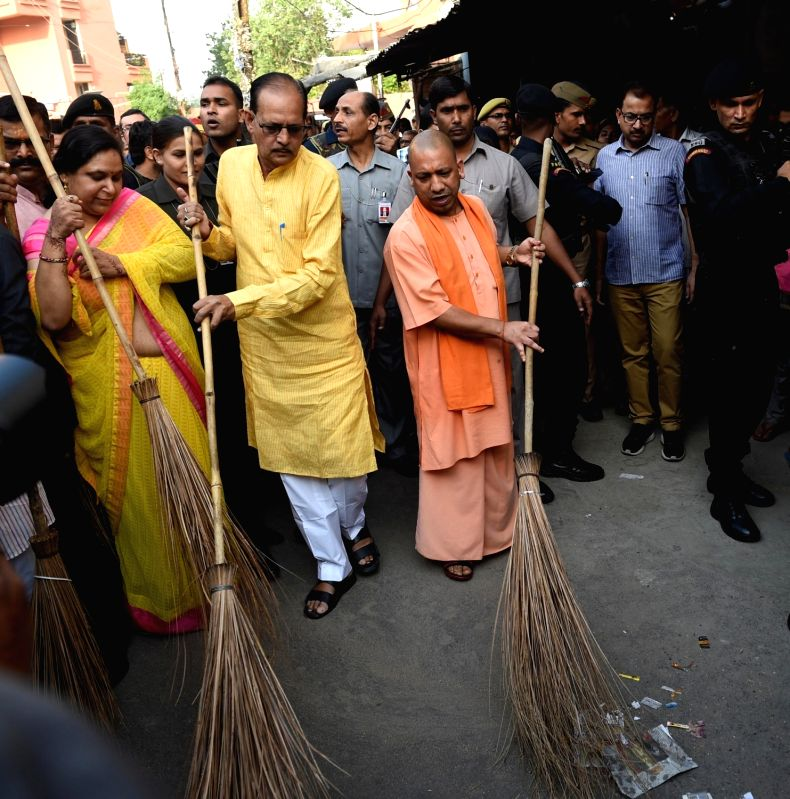 Uttar Pradesh Chief Minister Yogi Adityanath wielded the broom and undertook a cleanliness drive in Lucknow on May 6, 2017. He also vowed to make the state open defecation free (ODF) by 2018. - Yogi Adityanath