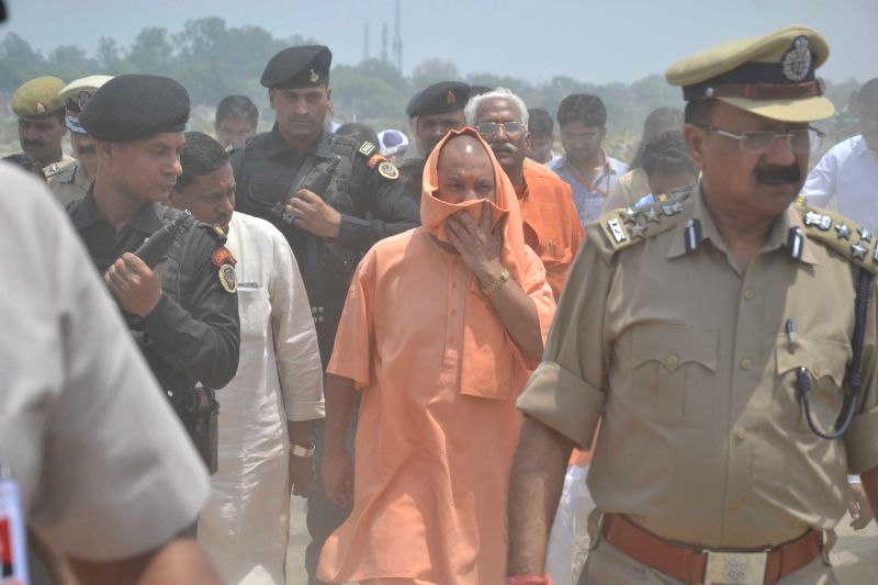 Uttar Pradesh Chief Minister Yogi Adityanath visits Taj corridor in Agra, on May 7, 2017. - Yogi Adityanath