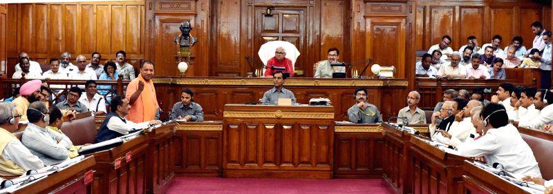 Uttar Pradesh Chief Minister Yogi Adityanath addresses in Uttar Pradesh Legislative Council in Lucknow, on May 22, 2017. - Yogi Adityanath