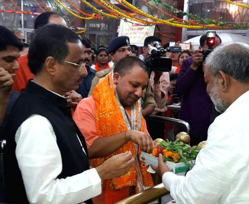 Uttar Pradesh Chief Minister Yogi Adityanath visits Hanuman Setu temple in Lucknow on May 23, 2017. - Yogi Adityanath