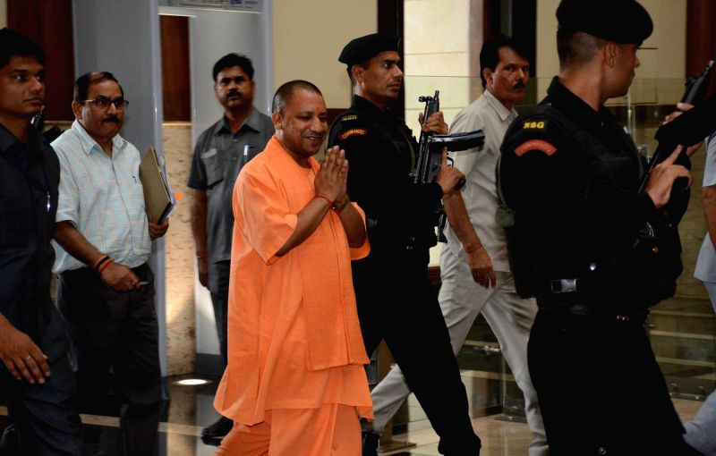 Uttar Pradesh Chief Minister Yogi Adityanath arrives to attend cabinet meeting in Lucknow, on June 6, 2017. - Yogi Adityanath