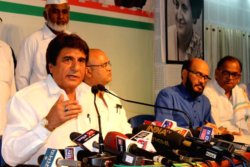 Uttar Pradesh Congress chief Raj Babbar addresses a press conference in Bhopal on May 31, 2017.