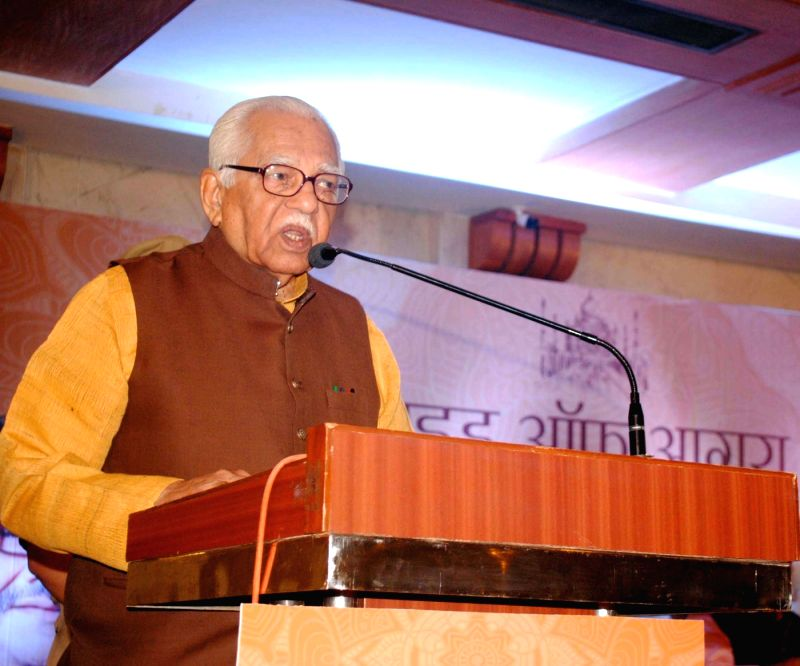 Uttar Pradesh Governor Ram Naik addresses during a programme on Agra on May 5, 2017.