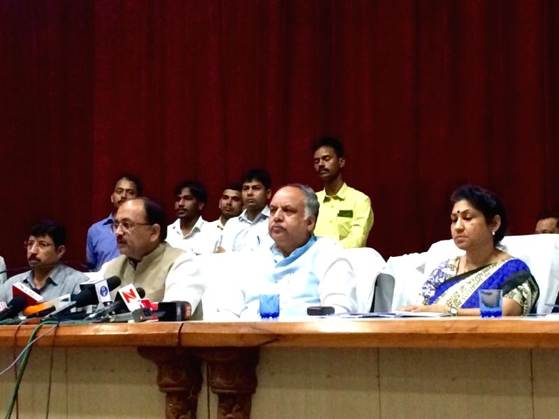 Uttar Pradesh Health Minister Siddharth Nath Singh addresses a press conference in Gorakhpur on Aug 11, 2017. - Siddharth Nath Singh