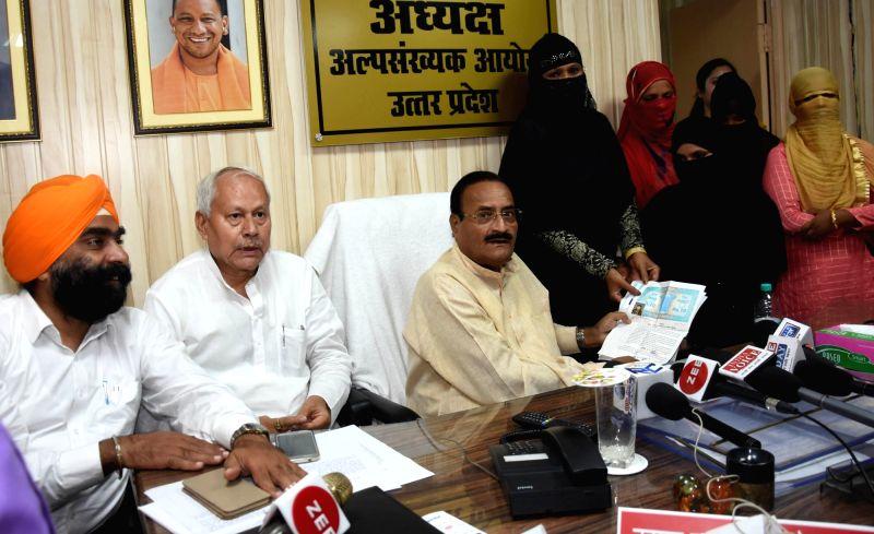 Uttar Pradesh Minority Commission Chairman Tanveer Haider Usmani meets the victims of Nikah Halala and Triple Talaq, in Lucknow on Aug 8, 2018.