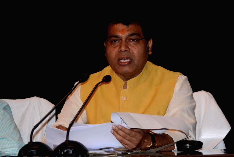 Uttar Pradesh Power Minister Shrikant Sharma addresses during a cabinet briefing, in Lucknow on July 17, 2018. - Shrikant Sharma