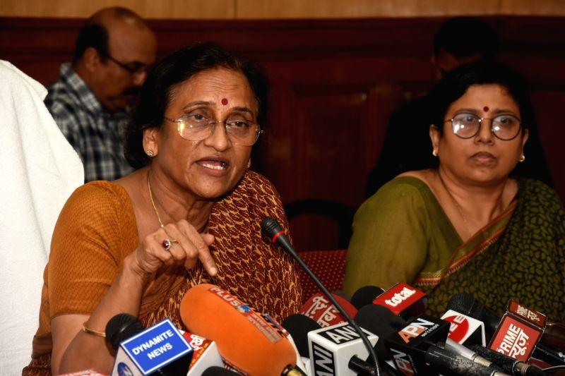 Uttar Pradesh Women and Child Welfare Minister Rita Bahuguna Joshi addresses a press conference regarding Deoria shelter home rapes, in Lucknow, on  Aug 6, 2018 - Rita Bahuguna Joshi