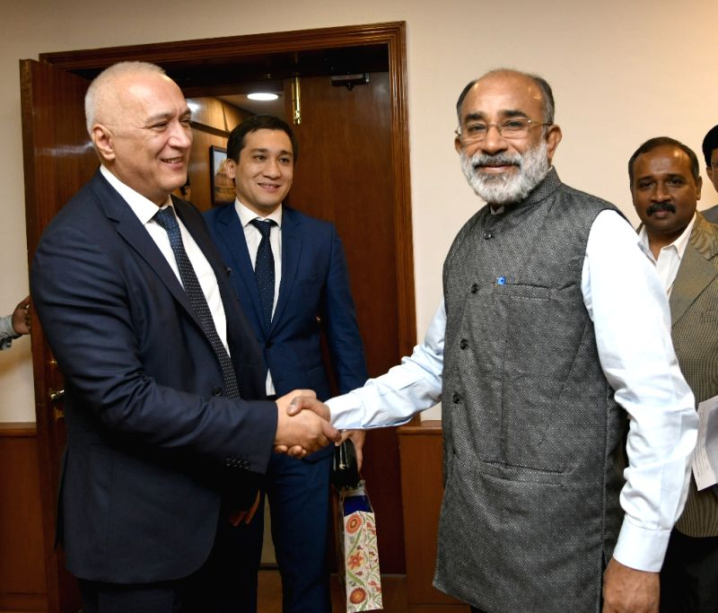 Uzbekistan State Committee for Tourism Development Chairman Bakhtiyor Umarov meets Union MoS Tourism Alphons Kannanthanam, in New Delhi, on Aug 8, 2018.