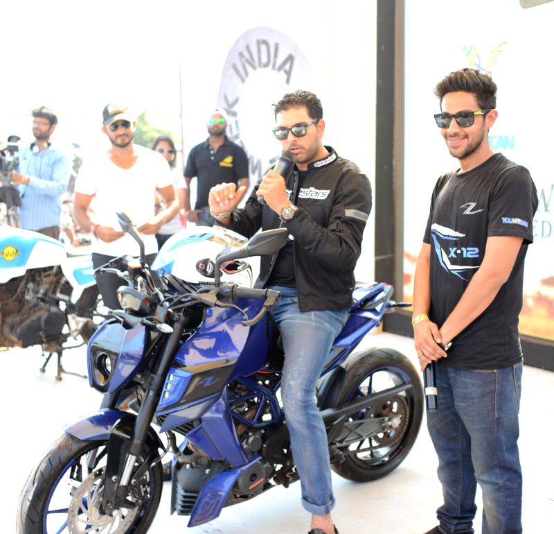 Indian Cricketer Yuvraj Singh during the second day of India Bike week 2015 in Vagator,  Goa, on Feb 21, 2015. - Cricketer Yuvraj Singh