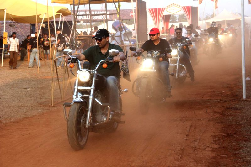 The participants of India Bike week 2015 that commenced in Vagator, some 18 km away from Panaji, on Feb 20, 2015.