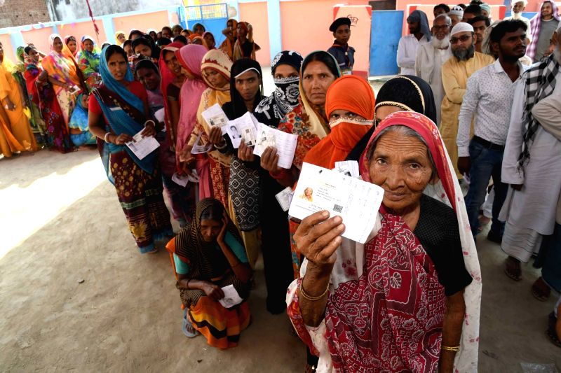 Vaishali: People queue up to cast their votes during the sixth phase of 2019 Lok Sabha elections, in Vaishali, Bihar on May 12, 2019.