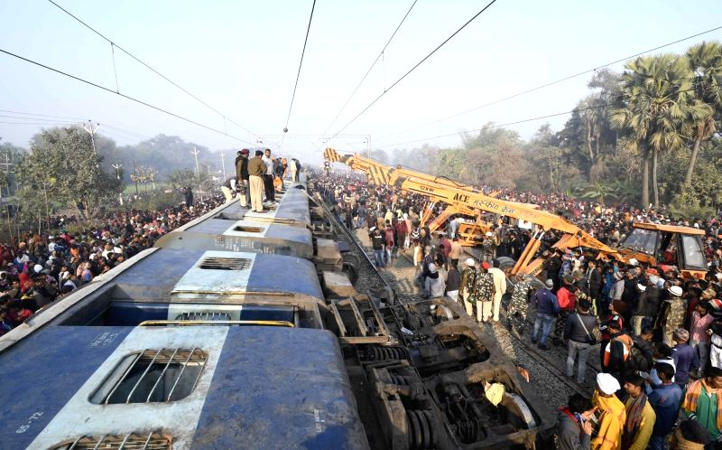 Vaishali: Rescue and relief operations underway after 11 coaches of the Delhi-bound Seemanchal Express derailed in Bihar's Vaishali district, killing seven people and injuring 27 others, on Feb 3, 2019. (Photo: IANS)