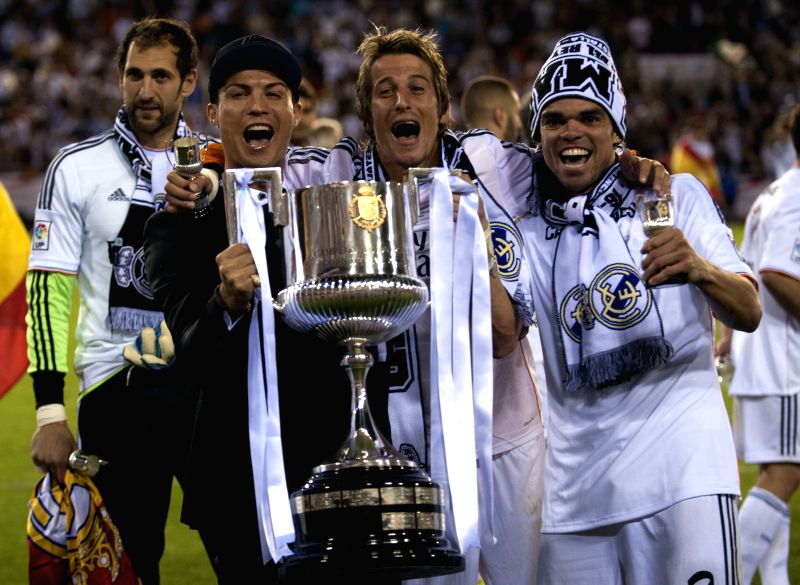 Players of Real Madrid celebrate after winning the Spanish King's Cup final between FC Barcelona and Real Madrid at the Mestalla stadium in Valencia, Spain on ...