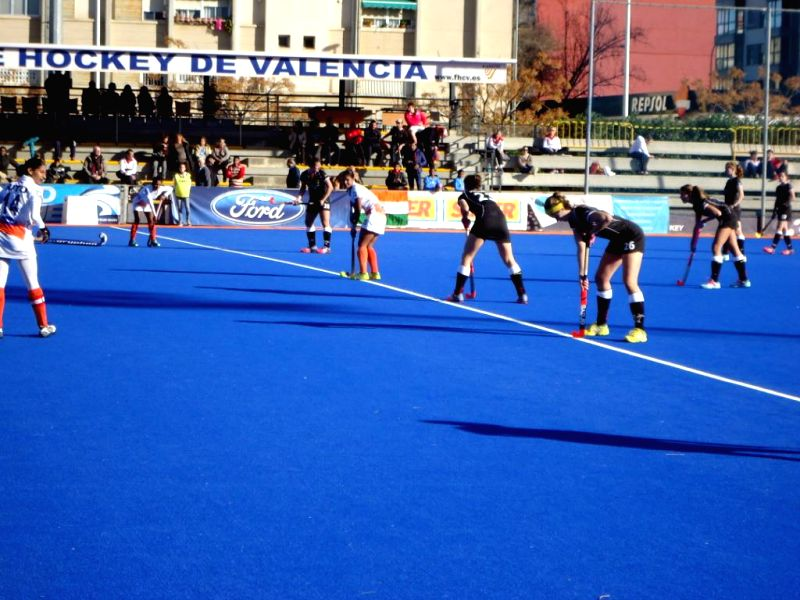 Players in action during a match between India and Germany in Valencia, Spain on Feb 23, 2015. Indians won. Score: 2-1. (Photo : IANS)