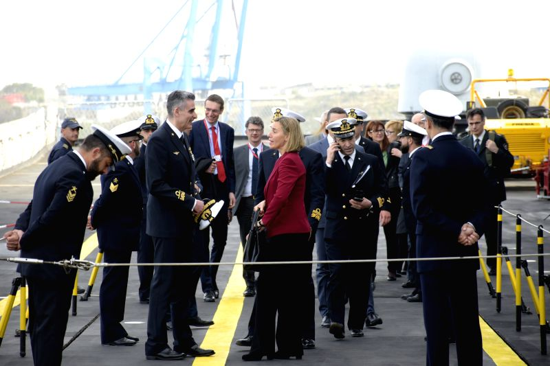 VALLETTA, April 26, 2017 - Federica Mogherini (C, Front), the EU's High Representative for Foreign Affairs and Security Policy, visits the Italian Amphibious ship San Giusto in Malta, on April 26, ...