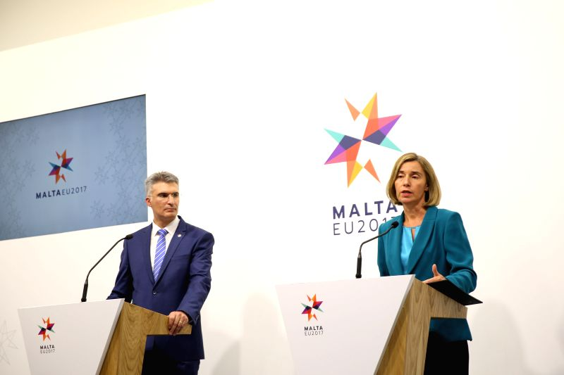 VALLETTA, April 27, 2017 - EU foreign policy chief Federica Mogherini (R) and Carmelo Abela, Minister for National Security and Home Affairs of Malta, attend the press conference following the ...