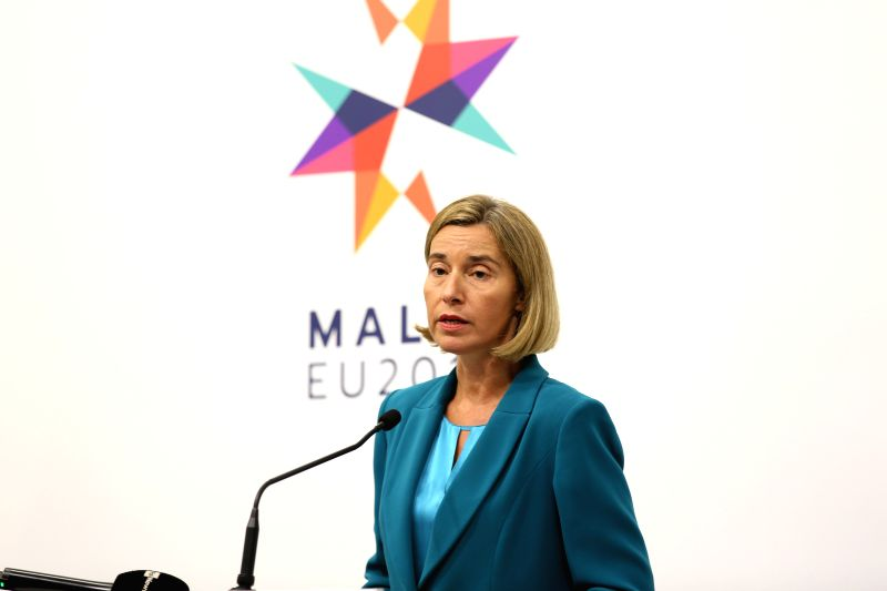 VALLETTA, April 27, 2017 - EU foreign policy chief Federica Mogherini addresses the press conference following the informal meeting of EU Defense Ministers in Valletta, Malta on April 27, 2017. ...