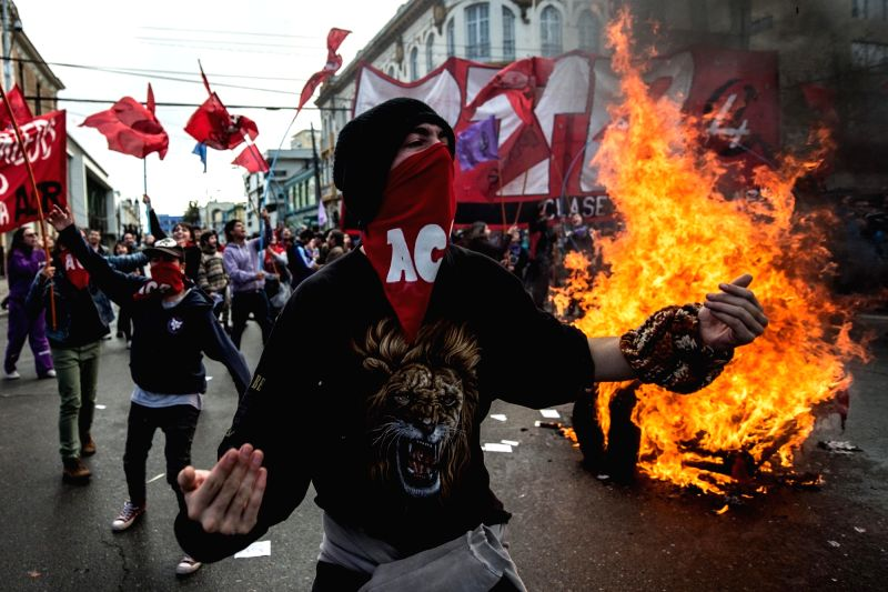 VALPARAISO, May 21, 2016 - Demonstrators shout slogans during a march called by the Confederation of Chilean Students (CONFECH), in Santiago, capital of Chile, on May 21, 2016. Demonstrators clash ...