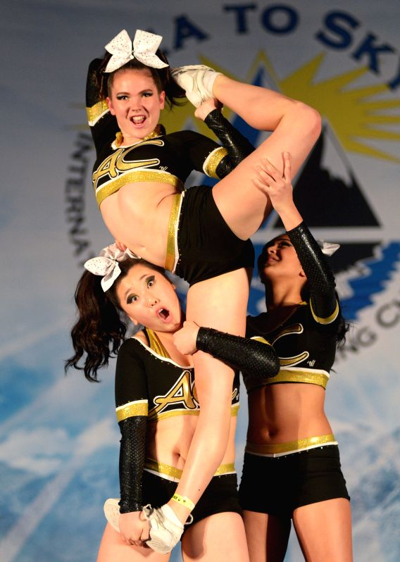 Cheerleading teams compete in 2015 Sea to Sky International Cheerleading Championship in Vancouver, Canada, on April 18, 2015. More than 3000 athletes from 135 ...
