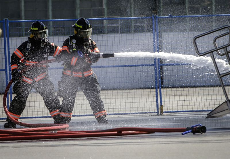 VANCOUVER, April 28, 2017 - Firefighters participate in an emergency exercise at Vancouver airport in Vancouver, Canada, April 27, 2017. Vancouver International Airport held an airport-wide training ...