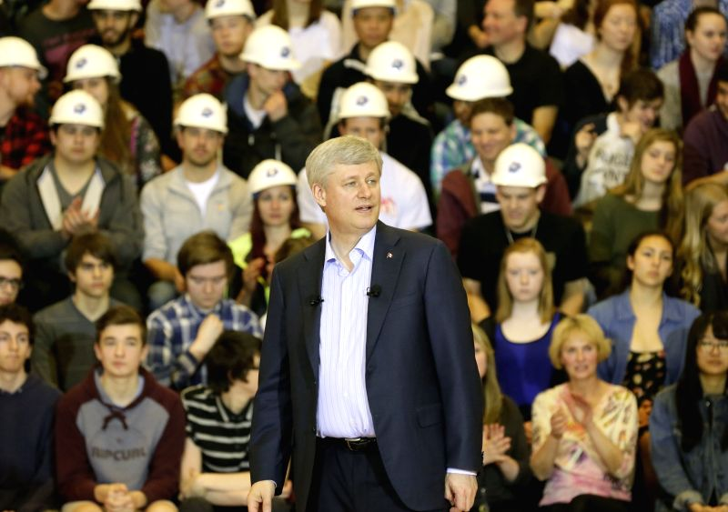 Canada Prime Minister Stephen Harper gives a speech at a school in North Vancouver, Canada, April 7, 2015. Harper announced that the federal government is ... - Stephen Harper