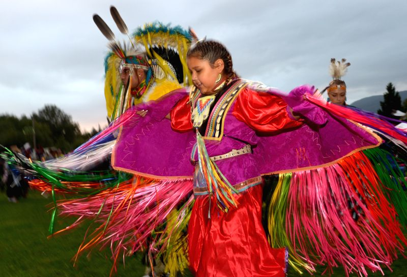 A native Indian girl participates in the 27th annual Squamish Nation Pow Wow in west Vancouver, Canada, Aug. 29, 2014. A modern Pow Wow is a historically ...