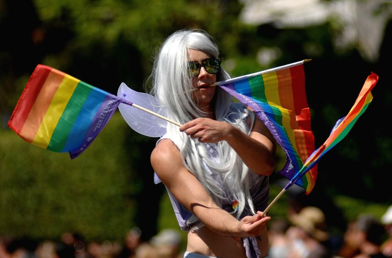 A man participates in the 36th annual Pride Parade in Vancouver, Canada, on Aug. 3, 2014. Extending 40 blocks and attracting an audience of over 850,000, the Pride