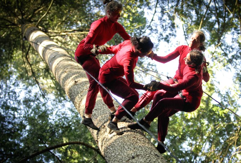 VANCOUVER (CANADA), Aug. 21, 2014 Dancers from Aeriosa Dance Society perform inside a forest at University of British Columbia in Vancouver, Canada, Aug. 20, 2014. The dancers perform ...