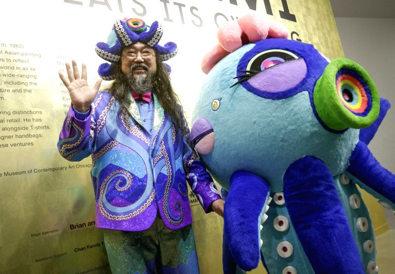 "VANCOUVER, Feb. 2, 2018 - Japanese artist Takashi Murakami poses during his exhibition ""The Octopus Eats Its Own Leg"" at the Vancouver Art Gallery in Vancouver, Canada, Feb. 1, 2018. The ... - Takashi Murakami"