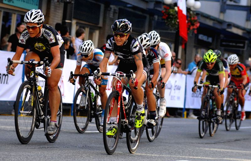 Contestants compete in the 2014 Gastown Grand Prix international bicycle race on July 9, 2014 in Vancouver, Canada.