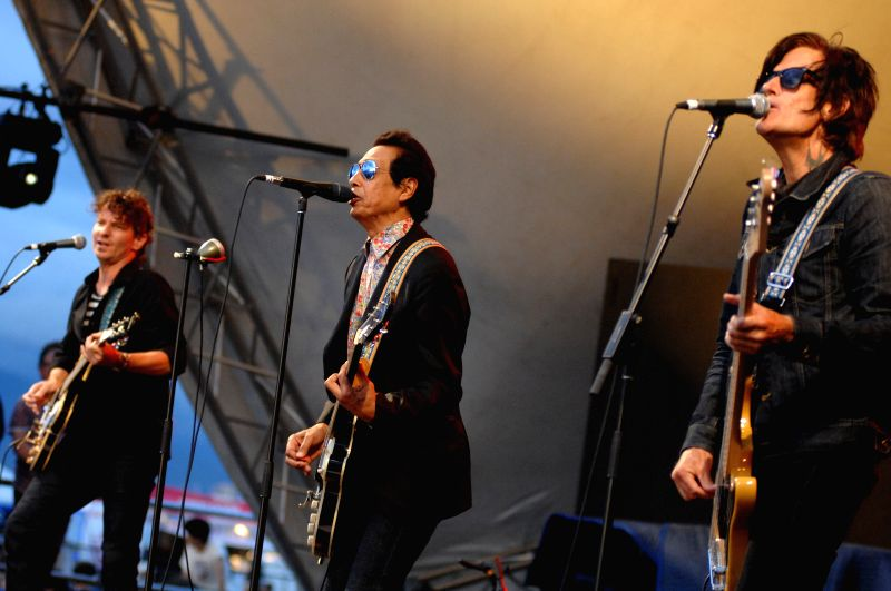 American band Alejandro Escovedo and the Sensitive Boys perform at the 37th annual Vancouver Folk Music Festival in Vancouver, Canada, on July 19, 2014. The 3-day